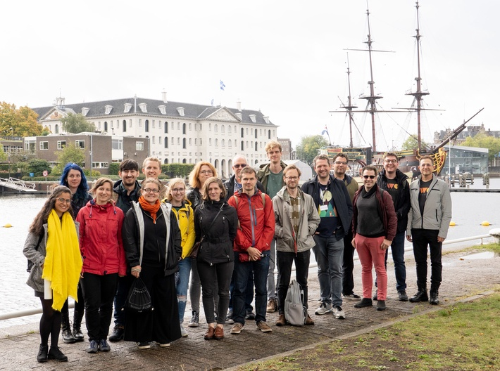 Group photo of IndieWebCamp Amsterdam attendees