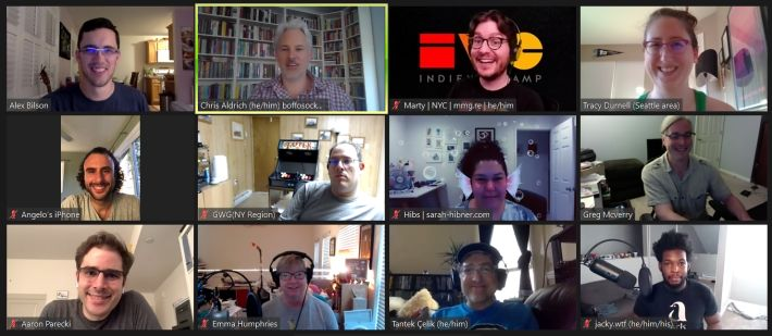 The smiling faces of the 12 people who showed up for HWC West this week in a 3x4 Zoom grid.