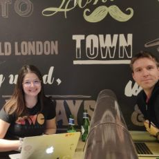 Ana Rodrigues, Calum Ryan and Jonas Voss inside at Proven Dough, Covent Garden