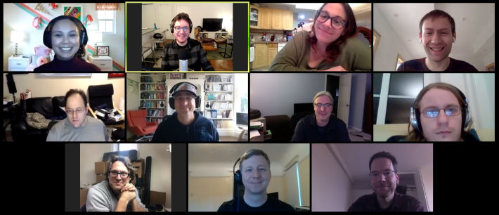 Screenshot of the Zoom video conferencing app with 11 faces smiling at the camera.
