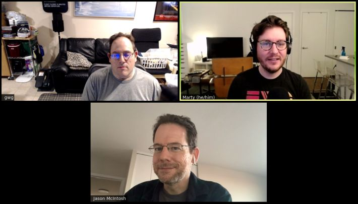 A Zoom call with three participants, David Shanske, Jason McIntosh, and Marty McGuire.