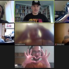 Seven attendees in a screen capture photo from Zoom. Many are making a heart shape with their hands because they love the IndieWeb.